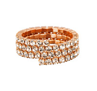 Rose Gold Plated/Clear Triple Stretch Eternity Band