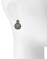 Gunmetal Plated Small Micro Pave Disc Drop Earrings Shown on Ear