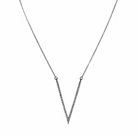 Gunmetal Plated Micro Pave Large V Necklace