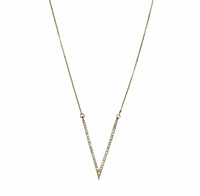 Yellow Gold Plated Micro Pave Large V Necklace