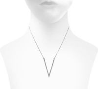 Gunmetal Plated Micro Pave Large V Necklace Shown on Neck