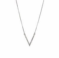 Rhodium Plated Micro Pave Small V Necklace