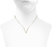 Yellow Gold Plated Micro Pave Small V Necklace Shown on Neck