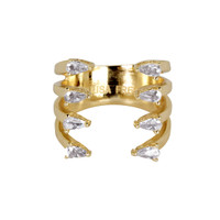 Yellow Gold Plated 4 Line Ava Ring