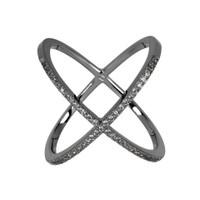 Gunmetal Plated/Gunmetal Large Micro Pave X Ring
