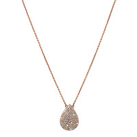 Rose Gold Plated Micro Pave Teardrop Pendant Necklace