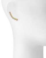 Yellow Gold Plated Graduated Crystal Stud Earrings Shown on Ear
