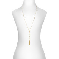 Yellow Gold Plated Amy Necklace Shown on Neck