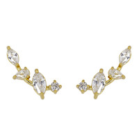 Yellow Gold Plated Mini Marquise Cluster Ear Cuff