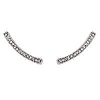 Rhodium Plated Long Crystal Bar Earrings