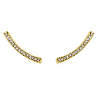 Yellow Gold Plated Long Crystal Bar Earrings