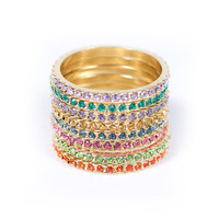 Yellow Gold Plated Rainbow Eternity Band Set of 8