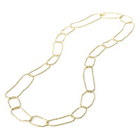 Yellow Gold Plated Chevron Necklace with One Crystal Link