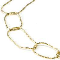 Yellow Gold Plated Chevron Necklace with One Crystal Link Chain Detail