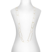 Yellow Gold Plated Chevron Necklace with One Crystal Link Shown on Neck