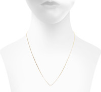 Yellow Gold Plated Ansley Necklace Pearl Side Shown on Neck