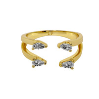 Yellow Gold Plated 2 Line Ava Ring