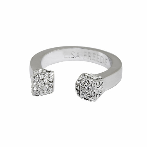 Rhodium Plated Crystal Stud Ring