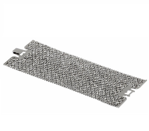 Rhodium Plated Crystal Lace Cuff