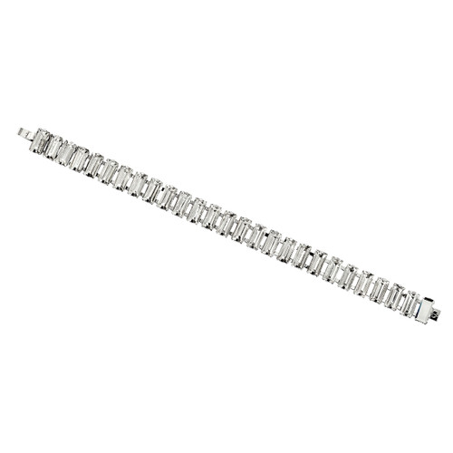 Rhodium Plated Baguette Tennis Bracelet