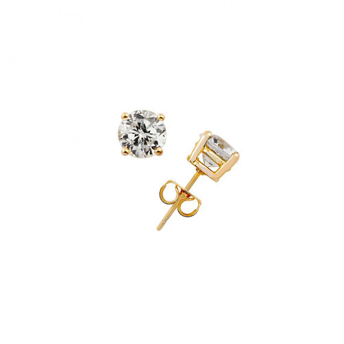 Yellow Gold Plated 4CT Round Cut Earrings