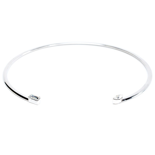 Rhodium Plated Baguette and Marquise Choker