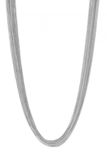 Rhodium Plated Silk Chain Necklace