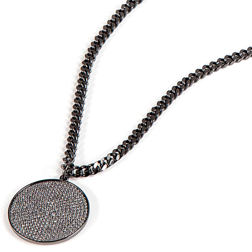 Gunmetal Plated Micro Pave Disc Necklace on Thick Chain Close Up Detail