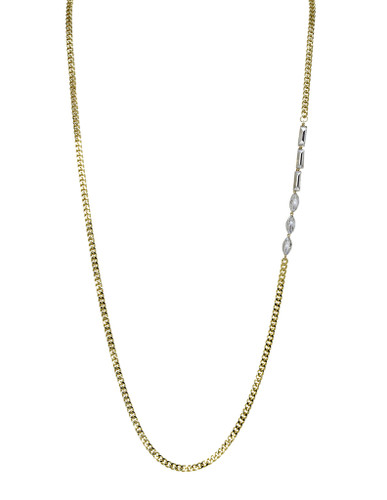 Yellow Gold Plated Baguette & Marquise Allison Necklace