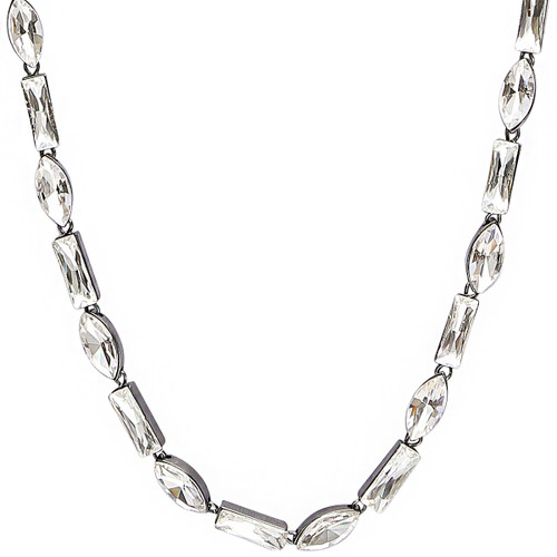 Gunmetal Plated Alternating Baguette & Marquise Necklace Close Up Detail