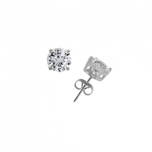 Rhodium Plated 6CT Round Cut Earrings