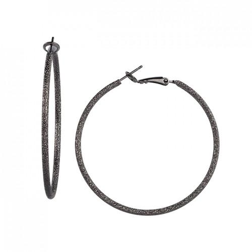 Gunmetal Plated Extra Large Stardust Hoop Earrings