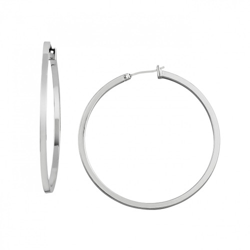 Rhodium Plated Extra Large Perfect Hoop Earrings
