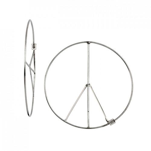 Rhodium Plated Large Peace Threader Hoop Earrings