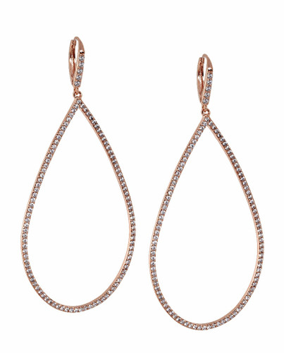 Rose Gold Plated Micro Pave Open Teardrop Earrings