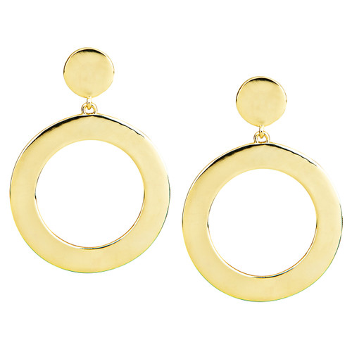 Yellow Gold Plated Coco Open Disc Drop Earrings