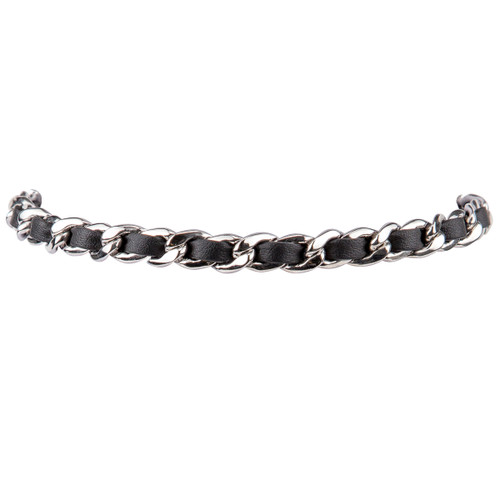 Rhodium Plated/Black Leather Michèle Choker