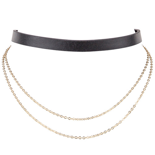 Yellow Gold Plated/Black Leather Finley Choker