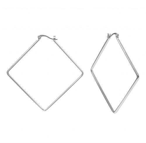Rhodium Plated Kim Hoop Earrings