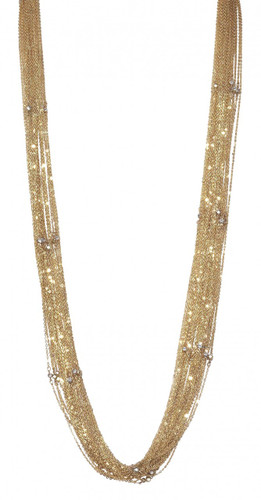 Yellow Gold Plated Lingerie Crystal Necklace