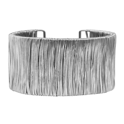 Rhodium Plated Medium Bamboo Cuff