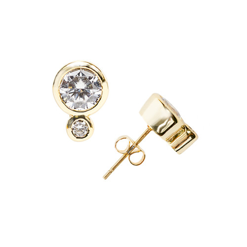 Yellow Gold Plated Double Encased Stud Earrings