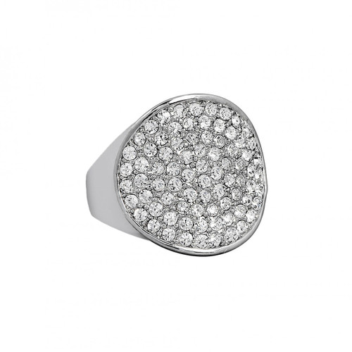 Rhodium Plated Adjustable Crystal Disc Ring