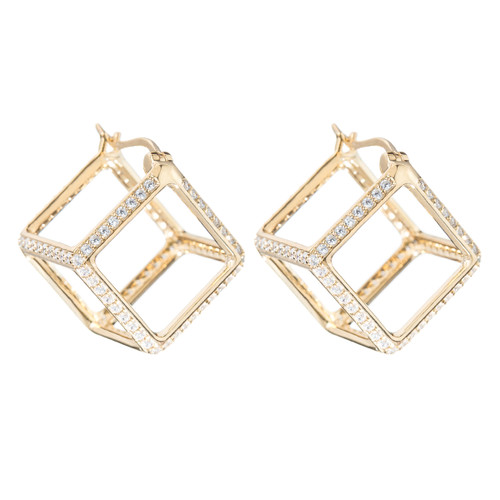 Yellow Gold Plated Crystal Cube Huggies