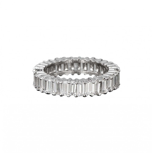 Rhodium Plated Baguette Eternity Band