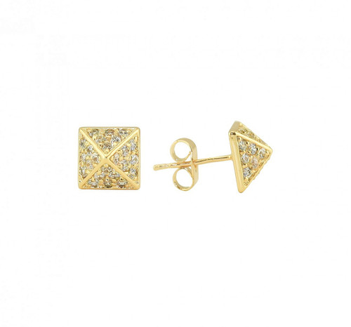 Yellow Gold Plated Crystal Pyramid Stud Earrings