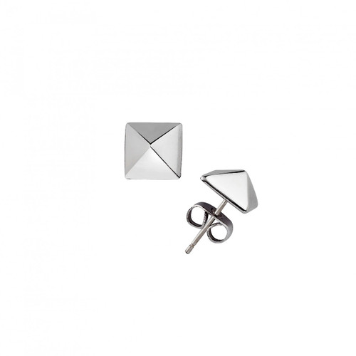 Rhodium Plated Small Solid Pyramid Stud Earrings
