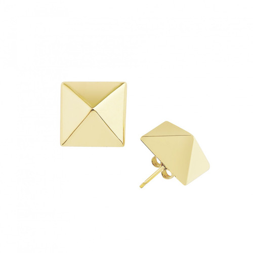 Yellow Gold Plated Large Solid Pyramid Stud Earrings