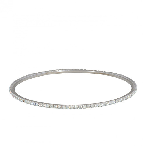 Rhodium Plated Laser Cut Bangle