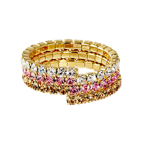 Yellow Gold Plated/Pink Gold Fade Triple Stretch Eternity Band